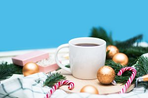 Tea cup with new year decoration