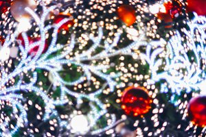 LED light on christmas tree