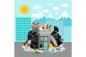 Garbage dump on urban landscape background