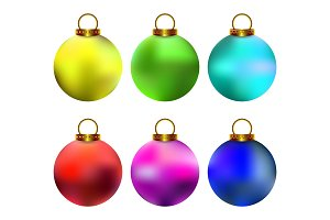 Colorful realistic Christmas balls