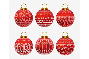 Red realistic Christmas balls