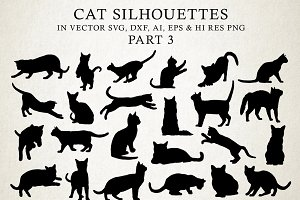 Cat Silhouettes Vector Pack 3
