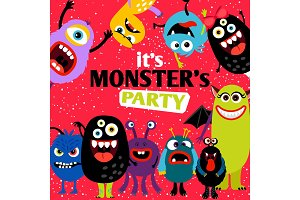It is monster party banner