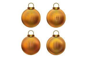 Golden realistic Christmas balls