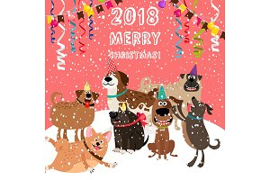 2018 christmas card with dogs party