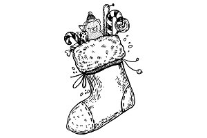 Christmas stocking engraving vector