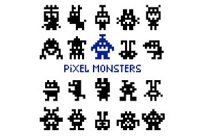 Retro pixel space monsters