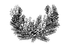 Christmas wreath engraving vector