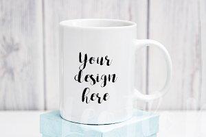 White coffee mug mockup rustic psd