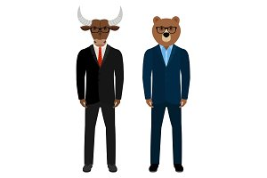 Bear and bull businessmen traders