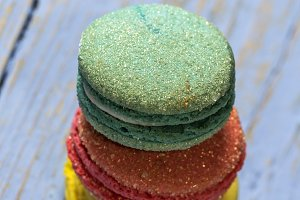 French macaroons colored