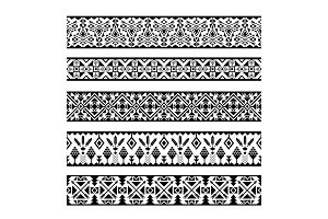 Mexican geometric seamless pattern borders