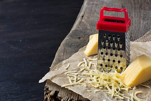 Grated cheese and metal grater