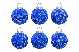 Set of blue Christmas balls.