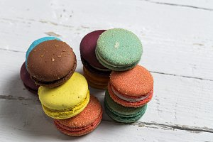 French macaroons in colors