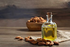 Bottle with almond oil