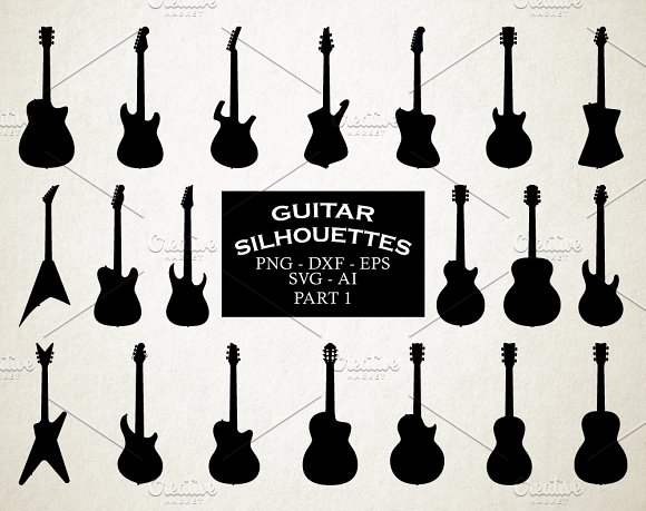Guitar Silhouettes Vector Pack 1