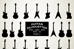 Guitar Silhouettes Vector Pack 2