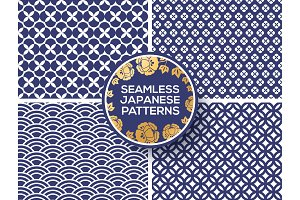 Japanese blue seamless patterns