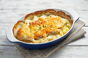 Baked meat with potato and cheese