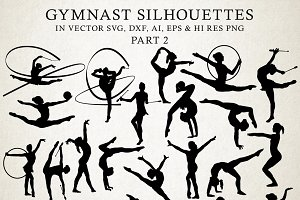 Gymnastic Silhouettes Vector Pack 2