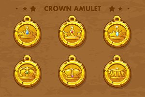 set vector old amulets with crown