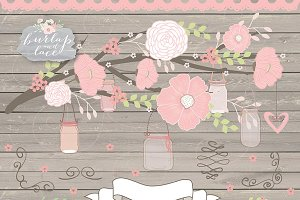Vector Rose blush mason jar rustic