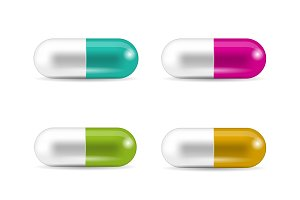 Set of realistic capsule shaped pills and drugs.