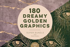 180 Dreamy Golden Digital Graphics