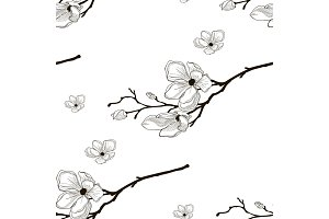 Vector Black Seamless Pattern with Drawn Cherry Flowers