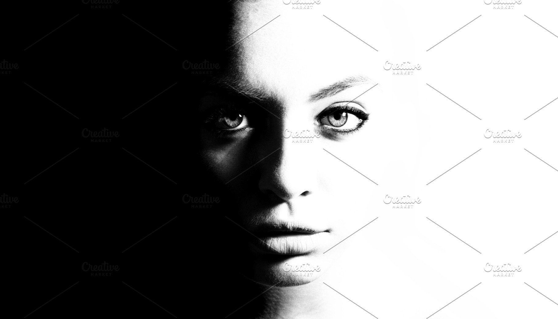 Save high contrast black and white portrait