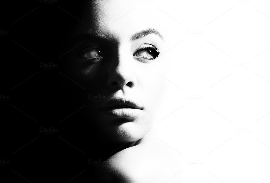 High contrast black and white portrait of a beautiful girl beauty fashion photos creative market