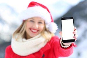 Girl showing phone screen