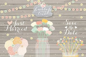 Rustic Jar flower clipart