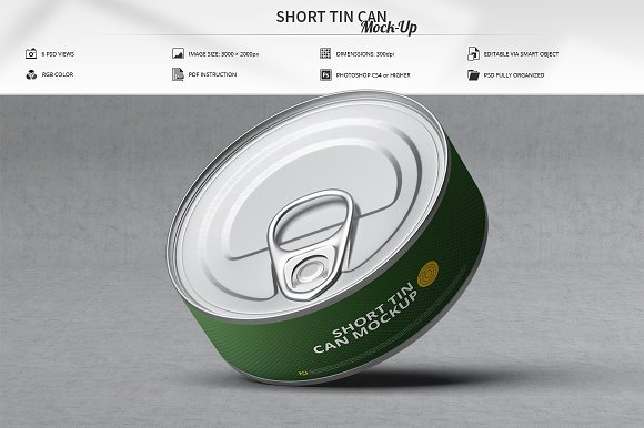 Short Tin Can Mock-Up-Graphicriver中文最全的素材分享平台