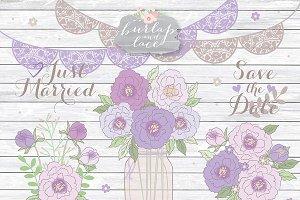 Peonies purple clipart