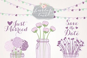 Purple mason jar wedding