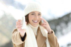 woman hydrating facial skin