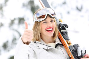 Portrait of a happy skier