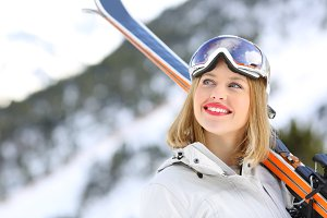 Portrait of a happy skier