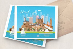 Israel vector travel poster