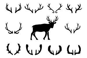 Black silhouettes of deer antlers
