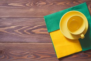 Cup on the wooden background