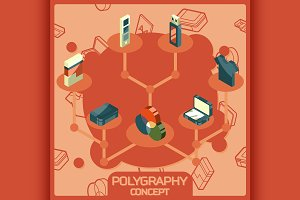 Polygraphy color isometric concept