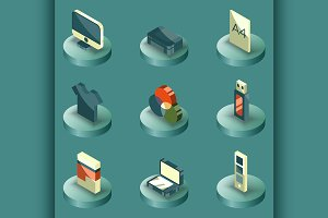 Polygraphy color isometric icons