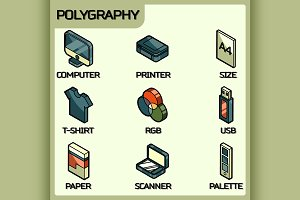 Polygraphy color outline isometric