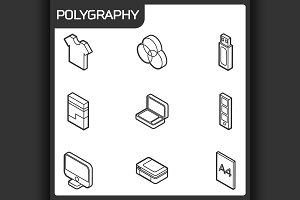 Polygraphy outline isometric icons