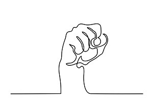 continuous line drawing of fist