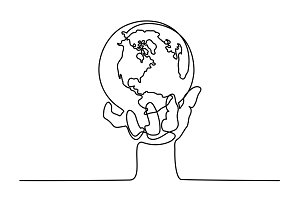 Globe of the Earth in human hand