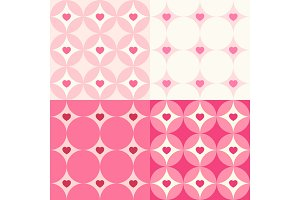 Cute set of Valentine's Day seamless patterns in retro style with hearts